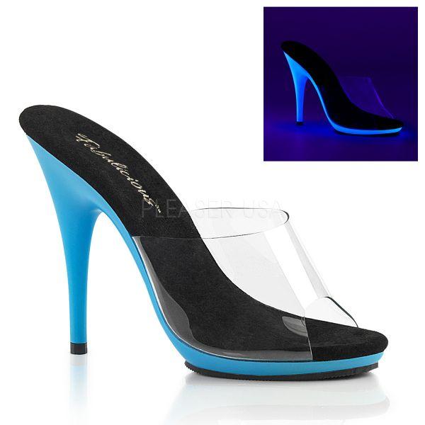 Durchsichtige High-Heel Pantolette mit neon-blauem Mini-Plateau POISE-501UV